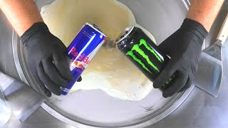Red Bull vs. Monster Energy Experiment - mixed Ice Cream Rolls
