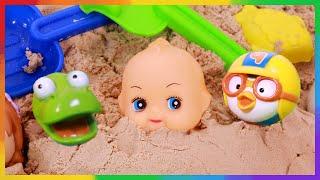모래놀이 하자! 두꺼비집 만들기! 뽀로로 베이비돌 겨울왕국 장난감 놀이 baby doll & Elsa Forzen LimeTube & Toy 라임튜브