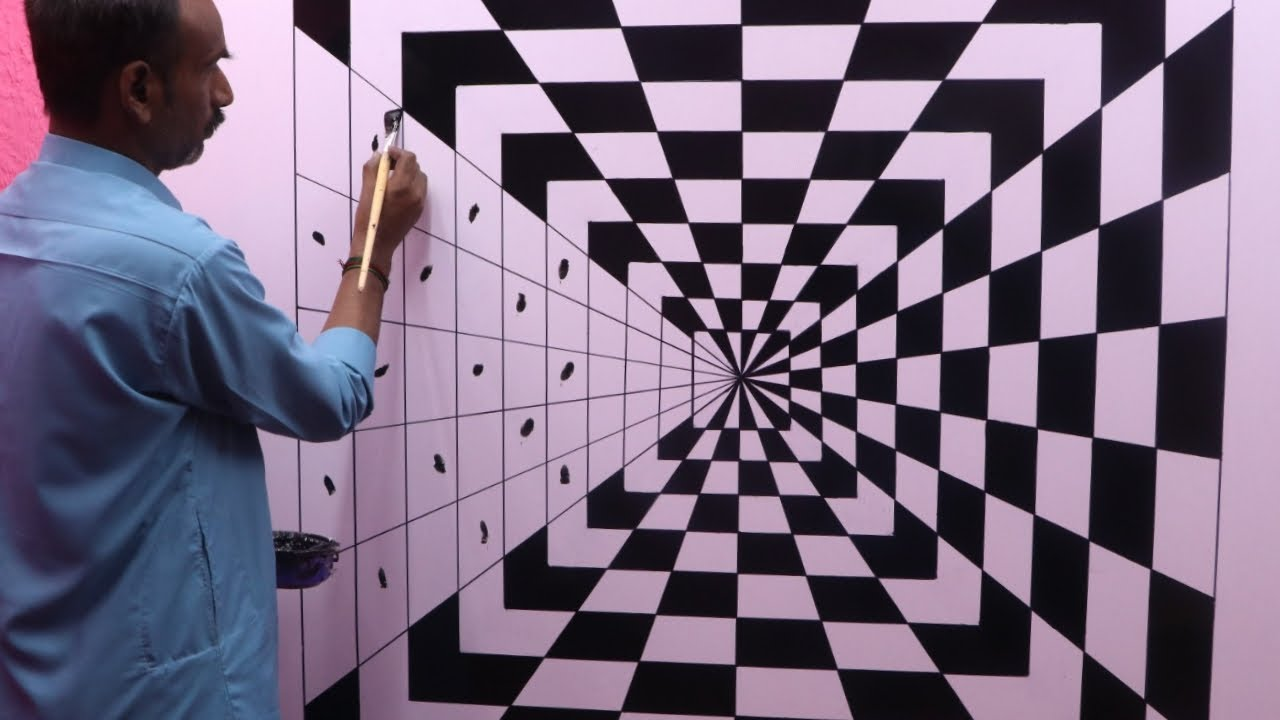 Optical Illusion 3d Wall Painting Wall Art Painting Decoration Interior Design Youtube