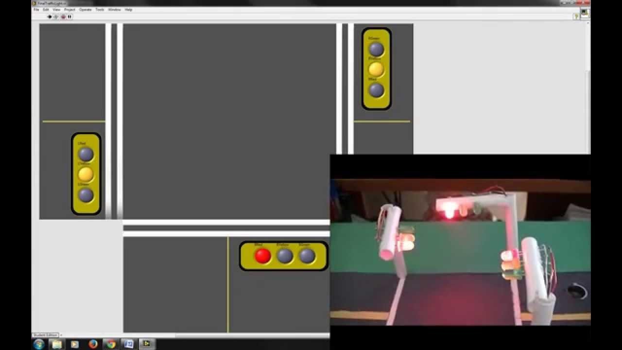Traffic light three way with hc sr ranging ultrasonic