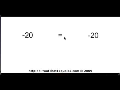 Proof That 1 = 2 - An Amateur Video Experiment To Enter A Contest. Have fun!