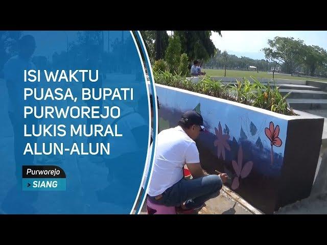 Isi Waktu Puasa, Bupati Purworejo Lukis Mural Alun-alun