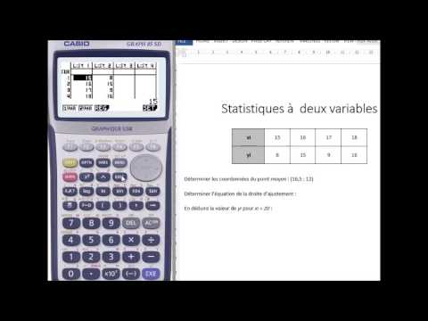Tuto statistiques à deux variables avec Casio - YouTube