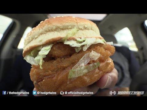 Eating Rally's Deep Sea Double® Fish Sandwich @Hodgetwins