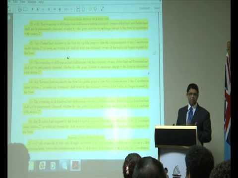 FIJIAN ATTORNEY GENERAL AIYAZ SAYED-KHAIYUM PRESENTS CONSTITUTION - PART 1