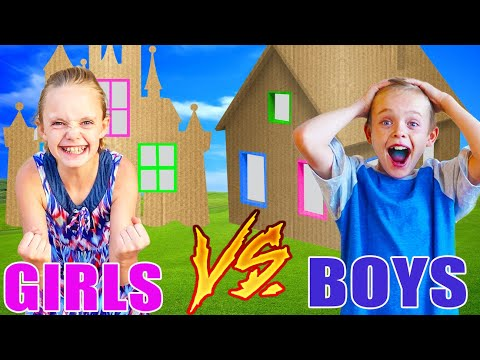 Girls VS Boys! Teams Race to Build the Best Giant Box Fort!