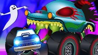 Police Monster Truck | Haunted House Monster Truck Videos | Car Cartoons For Kids