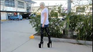 Pulling On Walking In Pleaser Beyond-4000 Massive 10 Inch Thigh High Boots