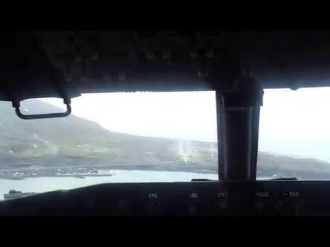 Svalbard AIrport Longyearbyen landing seen from cockpit