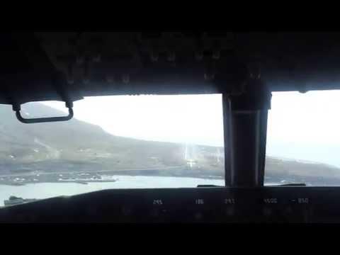 Svalbard AIrport Longyearbyen landing seen from cockpit
