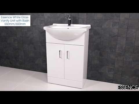 Essence White Gloss Vanity Unit with Basin 550mm/650mm - Plumbworld