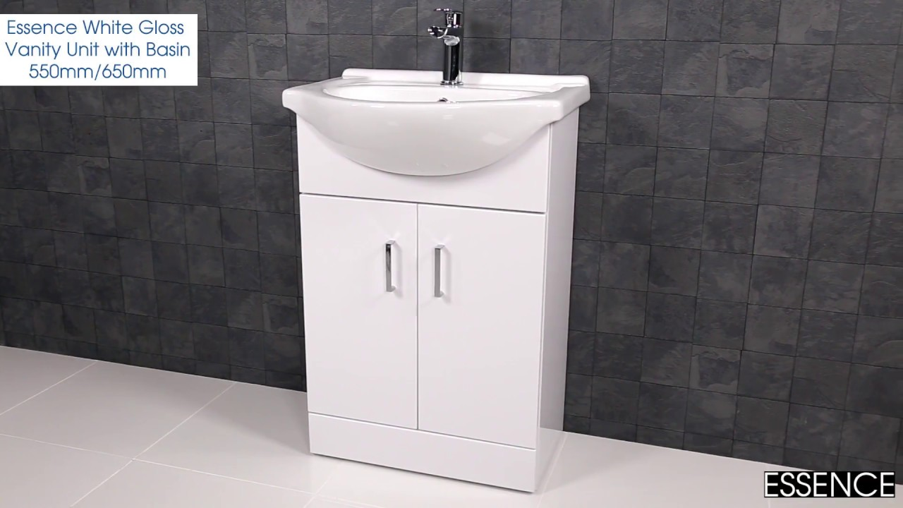 Essence White Gloss Vanity Unit With Basin 550mm/650mm   Plumbworld