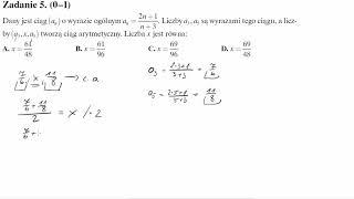 Matura operon 2017 zadanie 5 Dany jest ciąg (an) o wyrazie ogólnym an=(2n+1)/(n+3). Liczby a3,a5 są