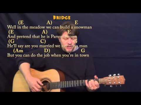 Winter Wonderland (Christmas) Fingerstyle Guitar Cover Lesson in C with Chords/Lyrics
