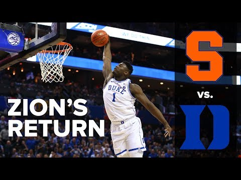 The Sports Feed - Zion Returns, Leads Duke Past Syracuse In ACC Tournament