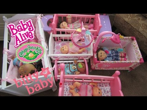Cabbage Patch Baby Dolls Try Out Cribs + Bunk Beds Made By Baby Alive + Bitty Baby + You & Me