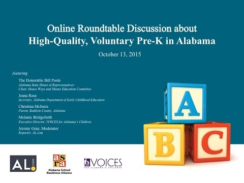 Online Roundtable Discussion About High-Quality, Voluntary Pre-K In Alabama