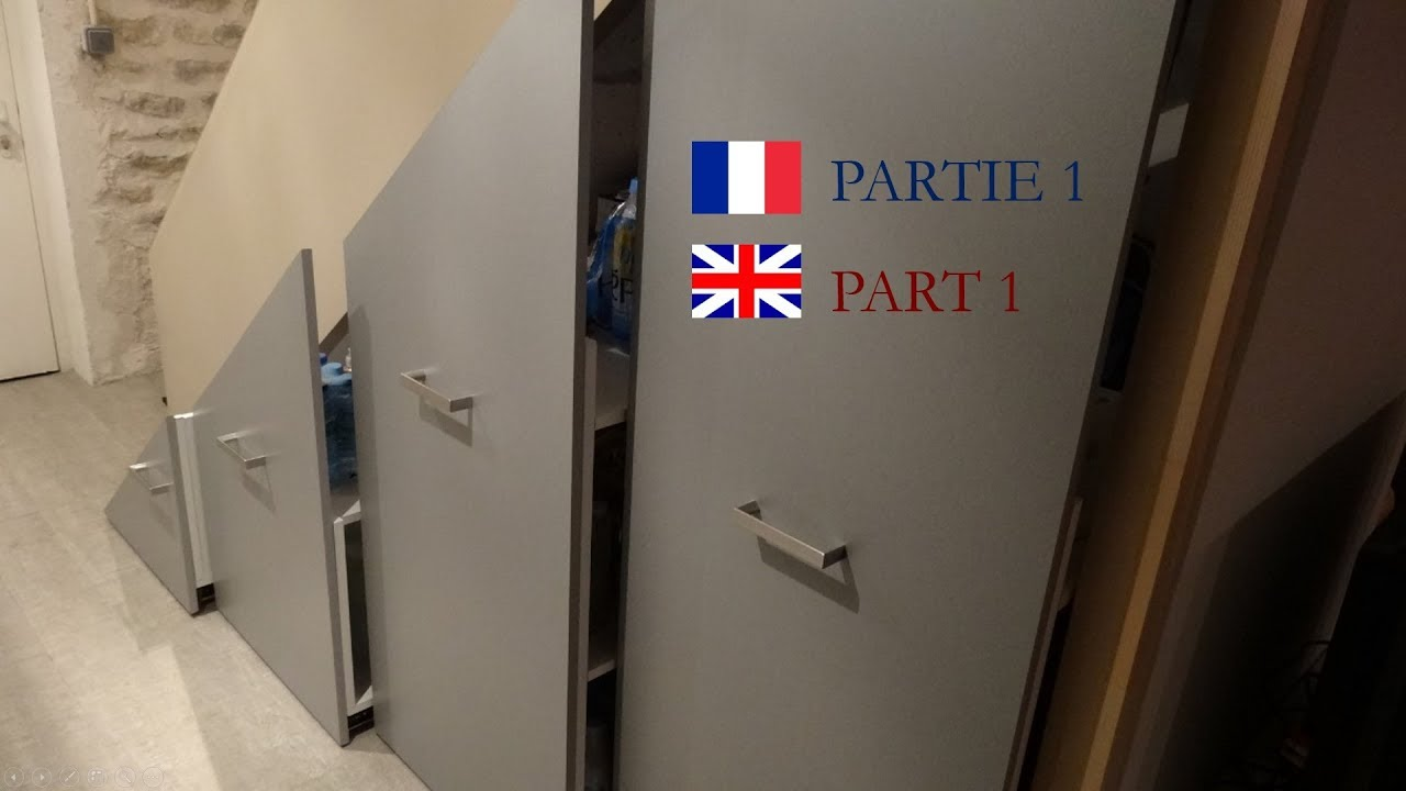 installer un placard coulissant sous escalier Part 1  Install a sliding storage under stairs