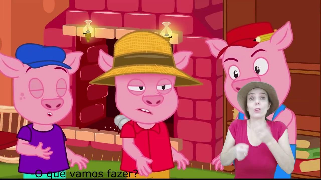Os Três Porquinhos | em Língua Brasileira de Sinais (Libras) | com legendas