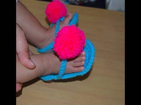 Pom Pom crochet baby sandals/ crochet summer shoes