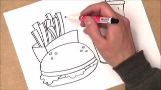 como dibujar comida no saludable paso a paso | como dibujar comida no saludable