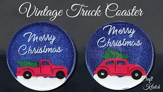 DIY Vintage Truck & Christmas Tree Coasters | Another Coaster Friday | Craft Klatch