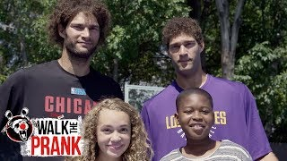 NBA Stars Robin & Brook Lopez Drive-By Dunk Challenge | Walk the Prank | Disney XD