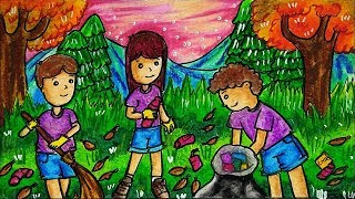 Cara Menggambar Dan Mewarnai Tema Gotong Royong Menjaga Kebersihan Lingkungan Yang Bagus Dan Mudah
