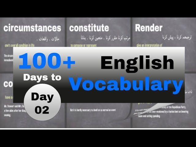 English Vocabulary Learning 02| 100 Days | English Language Learning
