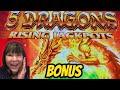 RISING JACKPOTS 5 DRAGONS & TIKI FIRE BONUSES