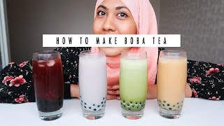 How to Make Bubble Tea | Boba Milk Tea Recipe | Four Flavours | Hungry for Goodies