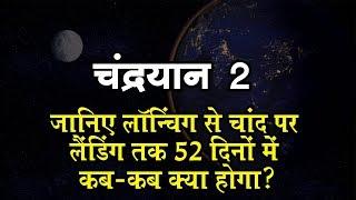 chandrayaan - 2 : जानिए लॉन्चिंग से चांद पर लैंडिंग तक 52 दिनों में कब-कब क्या होगा?