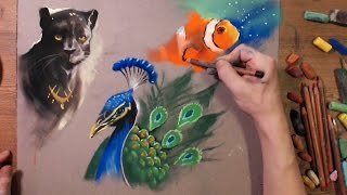 How to draw animal using soft pastel (speed drawing, doodle) screenshot 5