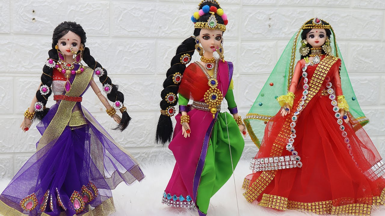 3 South indian bridal dress and Jewellery  -  Doll decoration ideas