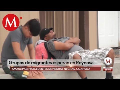 Grupos de migrantes esperan en Reynosa