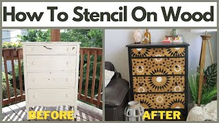 How To Stencil on Wood With A Moroccan Tile Stencil