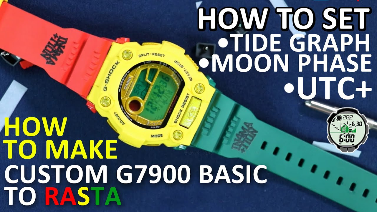 Download How To Custom Jam Mat Moto G7900 to Rasta and set the tide graph moon phase of this G-Shock Watch