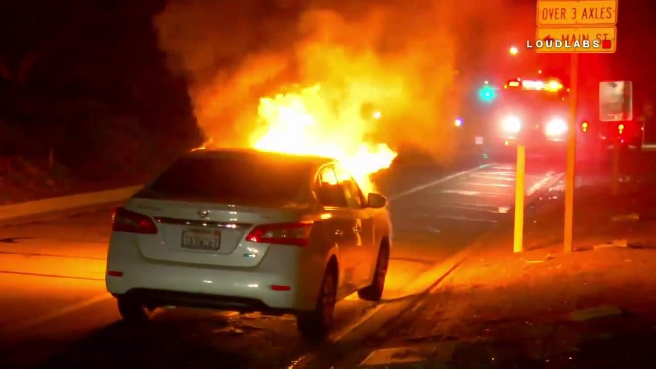 EB 60 Freeway Car Fire / Riverside RAW FOOTAGE