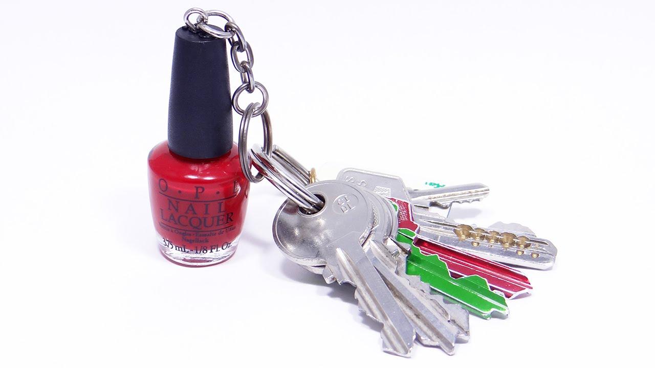 DIY llavero botella esmalte nail polish keychain - YouTube