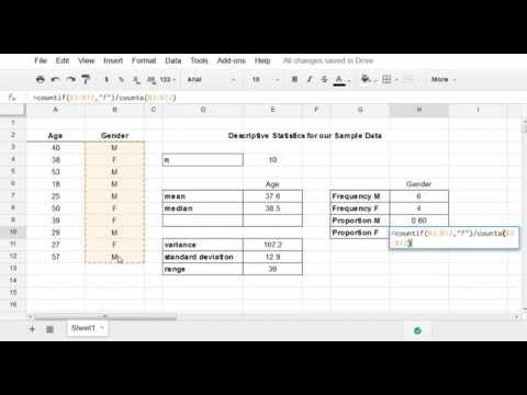 Google Sheets - Basic Descriptive Statistics (Mean, Variance, Standard Devation, etc.)