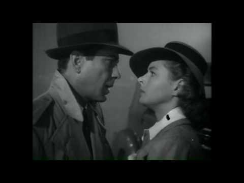 "Humphrey Bogart and Ingrid Bergman in Casablanca (Airplane Clip) ""Here's looking at you kid"""