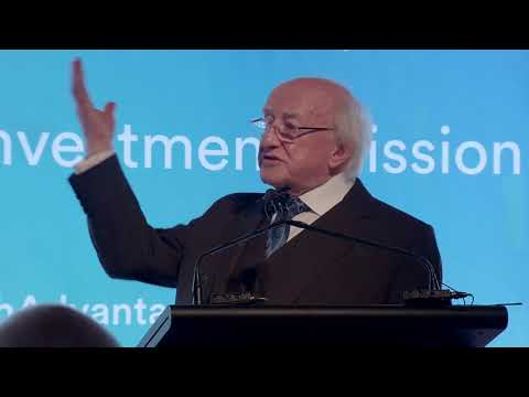 President Higgins addresses an event for Australian and Irish business leaders, Sydney Opera House
