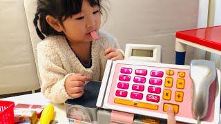 マイクアナウンスもできる!?レジのおもちゃでお買い物ごっこ お店屋さんごっこ おゆうぎ  Pretend Play as a cash register toy