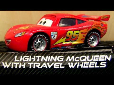 Lightning Mcqueen with Travel Wheels + Race Team Fillmore diecast Disney Pixar review Blucollection