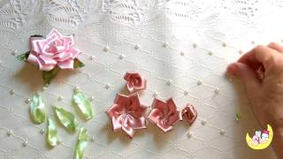 Linda rosa de fita de cetim