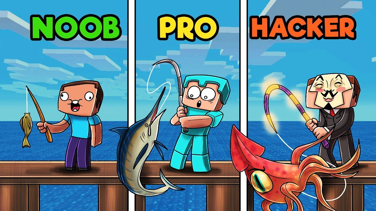 FISHING IN MINECRAFT! (NOOB vs PRO vs HACKER) - YouTube