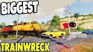 BIGGEST EVER TRAIN CRASH $25,000,000 TRACTORS & CARS DESTROYED | Farming Simulator 19 Gameplay