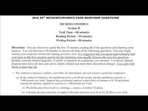 AP Microeconomics 2016 FRQ 1 YouTube