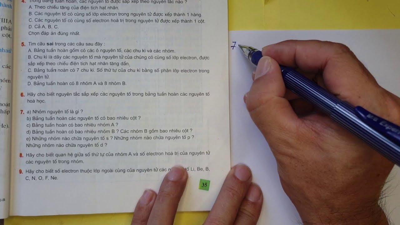 Bài 7 bảng tuần hoàn các nguyên tố hóa học bài tập sgk