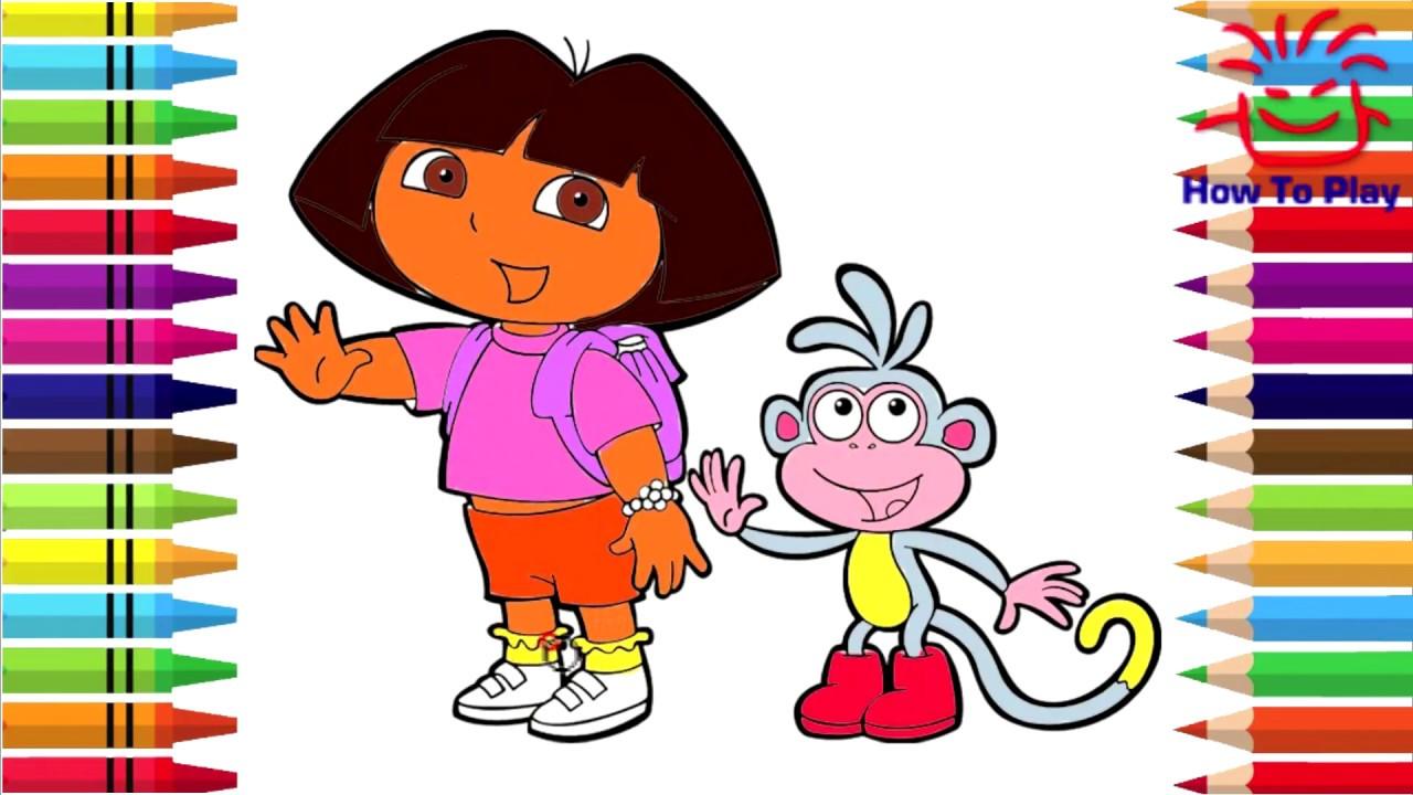 رسم وتلوين موزو ودورا Drawing And Coloring Of Mozo And Dora